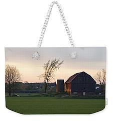 Barn At Dusk Weekender Tote Bag by David Porteus