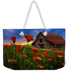 Barn In Poppies Weekender Tote Bag by Debra and Dave Vanderlaan