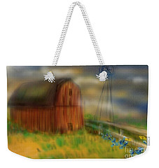 Weekender Tote Bag featuring the painting Barn by Marisela Mungia