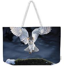 Barn Owl Landing Weekender Tote Bag by Manfred Danegger