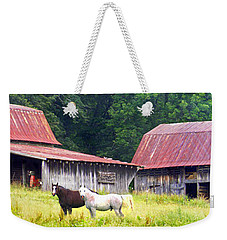 Barns And Horses Near Mills River Nc Weekender Tote Bag