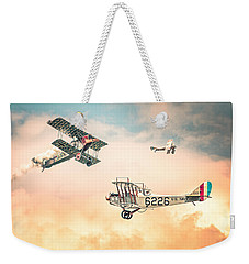 Weekender Tote Bag featuring the photograph Barnstormers In The Golden Age Of Flight - Replica Fokker D Vll - Spad 7 - Curtiss Jenny Jn-4h by Gary Heller