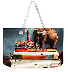 Barnum And Baileys Fabulous Road Trip Vacation Across The Usa Circa 2013 5d22705 With Text Weekender Tote Bag