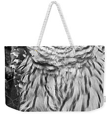 Barred Owl In Black And White Weekender Tote Bag