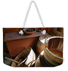 Weekender Tote Bag featuring the photograph Barrels by Jean Goodwin Brooks