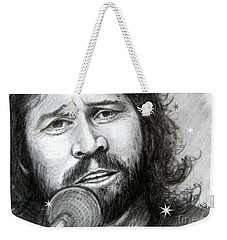Weekender Tote Bag featuring the drawing Barry Gibb by Patrice Torrillo