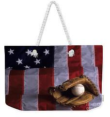 Baseball And American Flag Weekender Tote Bag