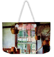 Weekender Tote Bag featuring the photograph Basket Shop by Susan Savad