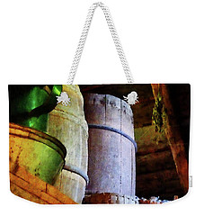 Weekender Tote Bag featuring the photograph Baskets And Barrels In Attic by Susan Savad