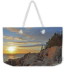 Weekender Tote Bag featuring the photograph Bass Harbor Lighthouse Sunset Landscape by Glenn Gordon