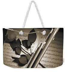 Bassoon Music Instrument Photograph In Sepia 3406.01 Weekender Tote Bag