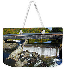 Bath Haverhill Covered Bridge In Autumn Weekender Tote Bag
