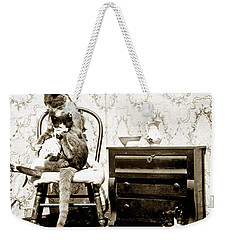 Weekender Tote Bag featuring the photograph Bath Time For Kitty Circa 1900 Historical Photos by California Views Mr Pat Hathaway Archives