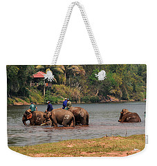 Weekender Tote Bag featuring the photograph Bath Time by Vivian Christopher