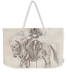 Weekender Tote Bag featuring the drawing Battle Of Wills by Kim Lockman