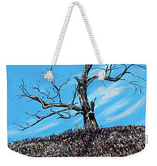 Weekender Tote Bag featuring the painting Battle Scars by Meaghan Troup