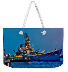 Battleship New Jersey At Night Weekender Tote Bag