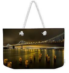 Bay Bridge And Clouds At Night Weekender Tote Bag
