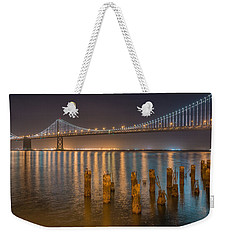 San Francisco Bay Bridge Light Show Weekender Tote Bag by James Hammond