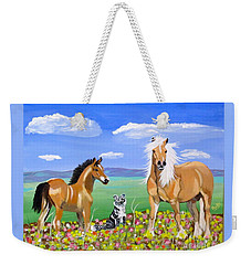 Bay Colt Golden Palomino And Pal Weekender Tote Bag by Phyllis Kaltenbach