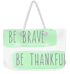 Be Yourself- Mint And White Inspirational Art Weekender Tote Bag