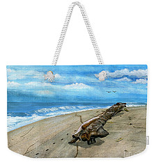 Weekender Tote Bag featuring the painting Beach Drift Wood by Melly Terpening