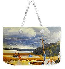 Beached Boat And Fishing Boat At Gippsland Lake Weekender Tote Bag