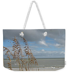 Weekender Tote Bag featuring the photograph Beachview With Seaoat  by Christiane Schulze Art And Photography