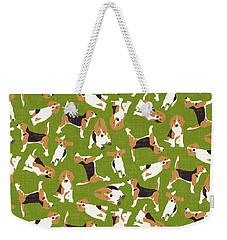 Beagle Scatter Green Weekender Tote Bag