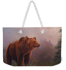 Weekender Tote Bag featuring the painting Bear In The Mist by Donna Tucker