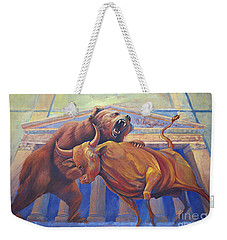 Bear Vs Bull Weekender Tote Bag by Rob Corsetti