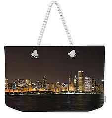 Beautiful Chicago Skyline With Fireworks Weekender Tote Bag by Adam Romanowicz
