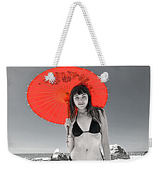 Beautiful Freckle Faced Model  At The Beach Altered Version Weekender Tote Bag