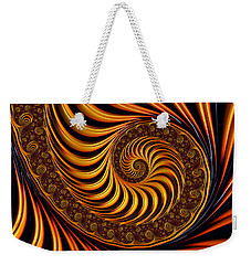Beautiful Golden Fractal Spiral Artwork  Weekender Tote Bag by Matthias Hauser