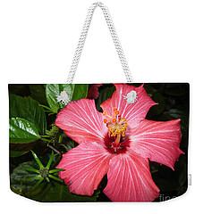 Weekender Tote Bag featuring the digital art Beautiful Hibiscus by Oksana Semenchenko