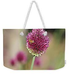 Beautiful Pink Flower With Bee Weekender Tote Bag by P S