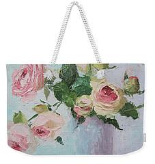Beautiful Roses Oil Palette Knife Painting Weekender Tote Bag