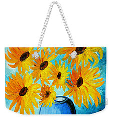 Weekender Tote Bag featuring the painting Beautiful Sunflowers In Blue Vase by Ramona Matei