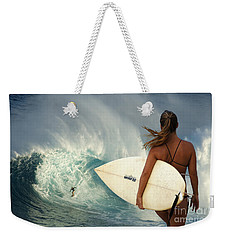 Surfer Girl Meets Jaws Weekender Tote Bag by Bob Christopher