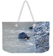 Beaver Chews On Stick Weekender Tote Bag by Chris Flees