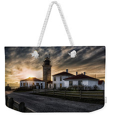 Beavertail Lighthouse Sunset Weekender Tote Bag by Joan Carroll