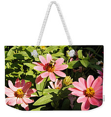 Weekender Tote Bag featuring the photograph Bee At Work by Mary Carol Williams