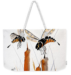Weekender Tote Bag featuring the painting Bee-ing Present by Bill Searle