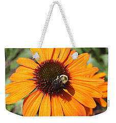 Weekender Tote Bag featuring the photograph Bee On Flower by John Telfer