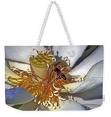 Bee On Lotus Weekender Tote Bag by Savannah Gibbs
