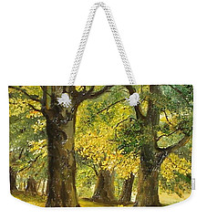 Weekender Tote Bag featuring the painting Beeches In The Park by Sorin Apostolescu