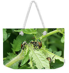 Weekender Tote Bag featuring the photograph Beetle Posse by Thomas Woolworth