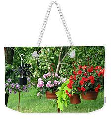 Begonias On Line Weekender Tote Bag by Ausra Huntington nee Paulauskaite