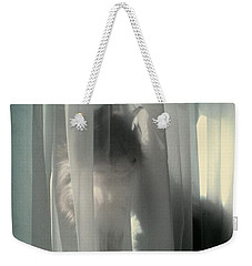 Weekender Tote Bag featuring the photograph Behind The Curtain by Jacqueline McReynolds