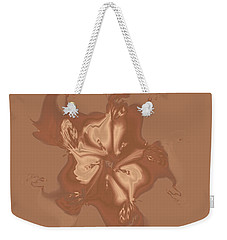 Beige Satin Morning Glory Weekender Tote Bag